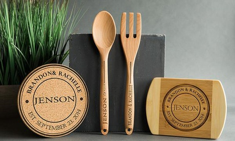Personalized Cutting Board, Hot Pad, Wooden Spoon and Fork Set, or Kitchen Bundle from Qualtry (Up to 83% Off) 0ee2e7a2-9e13-4a1c-9a48-aa9d48eb0c33