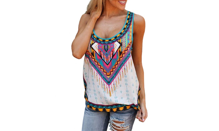 Women's Aztec Tank Top. Available in Standard and Plus Sizing.