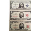$2 and $5 Red Seal Bill Set with $1 Silver Certificate Blue Seal Bill