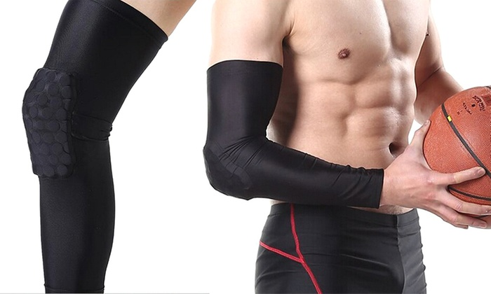 HTE Hexi-Pad Impact Protection Compression Sleeves for Arm/Elbow or Knee/Leg (2-Pack)