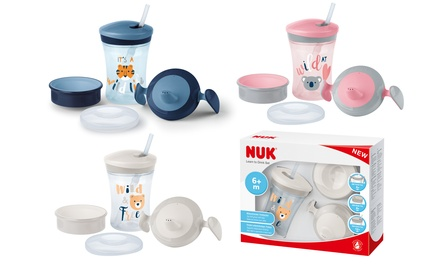 Set per bambini Nuk Evolution Cup con 3 diversi tipi di chiusura