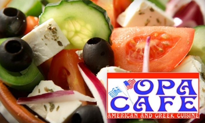 Opa Cafe - Summerville: $15 for $30 Worth of Greek Dinner Fare or $5 for $10 Worth of Greek Lunch Fare at Opa Cafe in Summerville