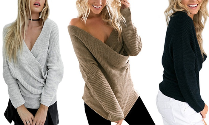 Groupon Goods: Wide-Neckline Knit Sweater (Shipping Included)