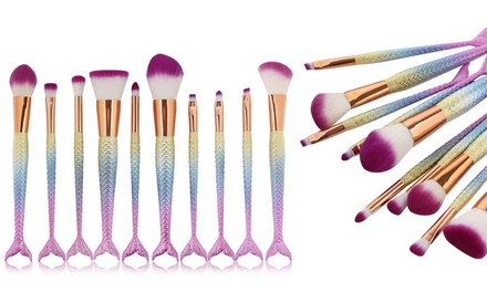 One or Two Five or TenPiece Mermaid Tail MakeUp Brush Sets
