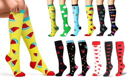 KneeLength Printed Compression Socks: Three Pairs $19 or Six Pairs $29.95