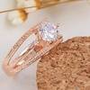 14K Rose Gold Plated Crystal Engagement Ring