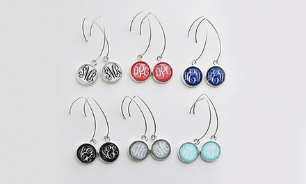 One or Two Pairs of Monogrammed Duster Earrings from KraftyChix (Up to 65% Off)