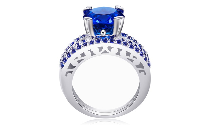 Cttw Lab Created Blue Sapphire Ring With Free Pearl Earrings