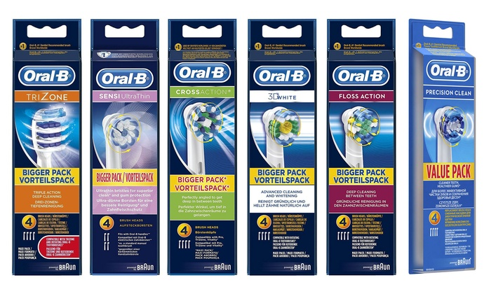 Four or Eight Braun Oral-B Toothbrush Heads From £8.98