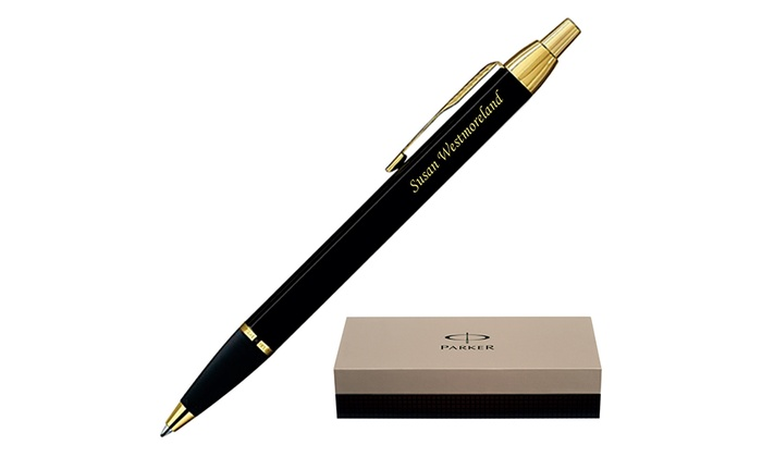 Dayspring Pens: One or Two Personalized Parker IM Black Ballpoint Pens with Gold Trim from Dayspring Pens (Up to 43% Off)