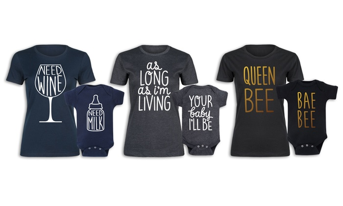 Mother and Baby Matching Tee and Bodysuit Set (2-Piece)