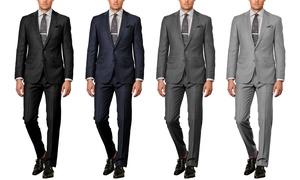 d6b9893203 Verno Men's 100% Wool Classic Fit Suit (2-Piece)