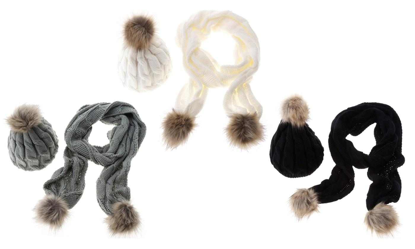 Pom Pom Scarf and Winter Hat Set in Choice of Colour