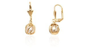 18k Gold Plated Caged Created Pearl Earrings