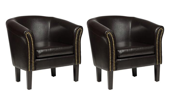 Terrific Set Van 2 Chesterfield Stoelen Groupon Goods Lamtechconsult Wood Chair Design Ideas Lamtechconsultcom
