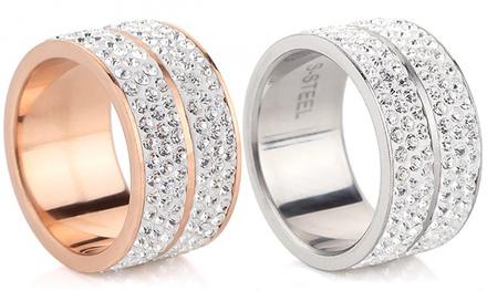 1 of 2 Elyna ringen van roestvrij staal, versierd met Swarovski®kristallen, vanaf € 9,99
