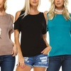 Isaac Liev Women's Cold-Shoulder Cutout Top