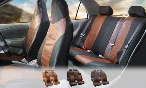 Textured Faux Leather Full Seat-Covers Set (7-Pc.)