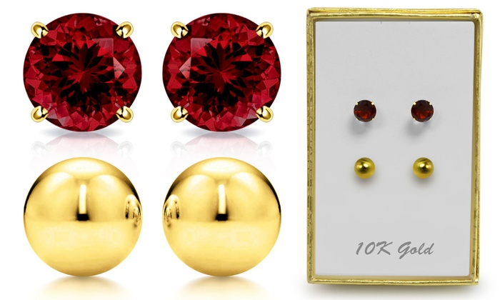 70628ae2b Genuine Garnet And Ball Stud Earring Set in 10K Gold By MUIBLU Gems
