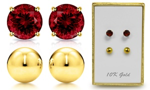 Genuine Garnet And Ball Stud Earring Set in 10K Gold By MUIBLU Gems