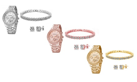 One, Two, or Three Crystal Watch and Jewellery Sets from AED 159