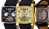 Men's Automatic Multifunction Watch with Skeletal Back Window: Men's 20-Jewel Automatic Multifunction Watch with Skeletal Back Window