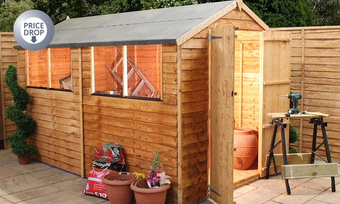 Groupon Goods Global GmbH: Overlap Apex Wooden Garden Sheds In Choice Of  Size From ...