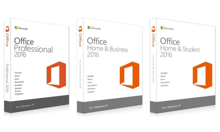 Microsoft Office 2016 Home & Student, Home & Business oder Professional für PC als Download : 34,90 €