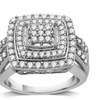 1 CTTW Diamond-Cluster Square Ring in Sterling Silver By DeCarat