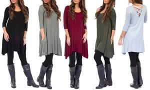 Women's Crossback Dress with Free Fleece-Lined Leggings