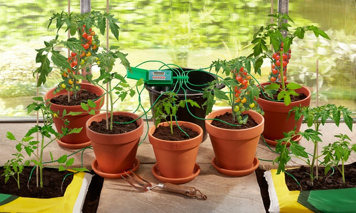 Garden auto watering system groupon for Gardening 4 less groupon