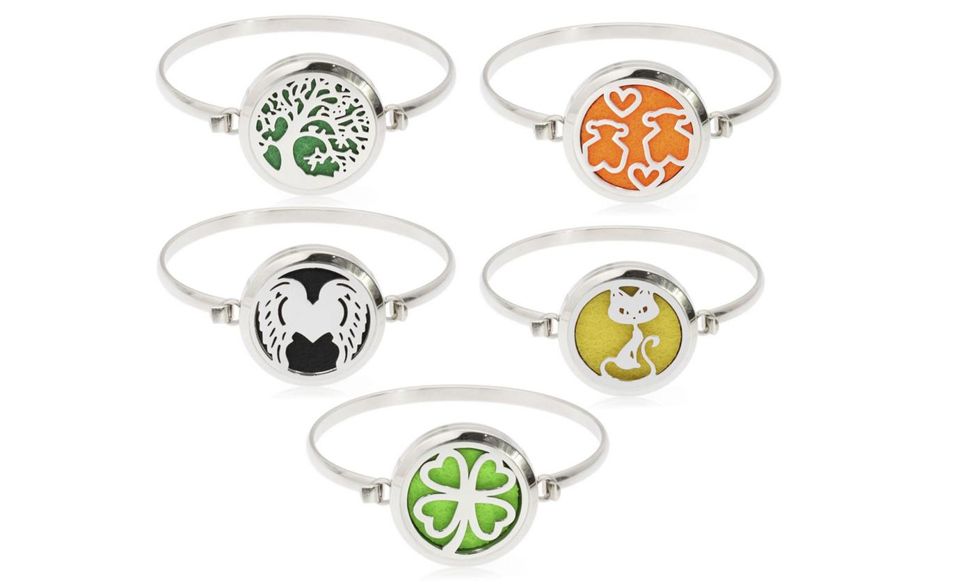 One or Two Stainless Steel Essential Oil Diffuser Bracelets