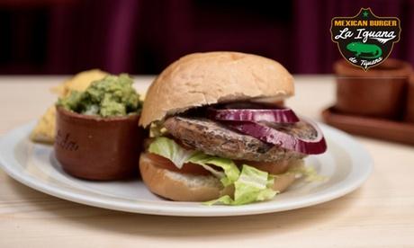 Menú para 2 de hamburguesa con totopos con guacamole y bebida desde 18,95 € en La Iguana de Tijuana Mexican Burger