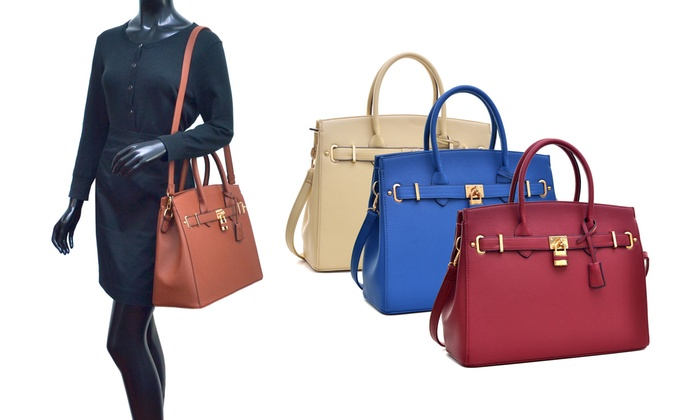 Padlock Satchel Handbag | Groupon