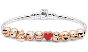 Bracelet plaqué Or 10 charms Emoji