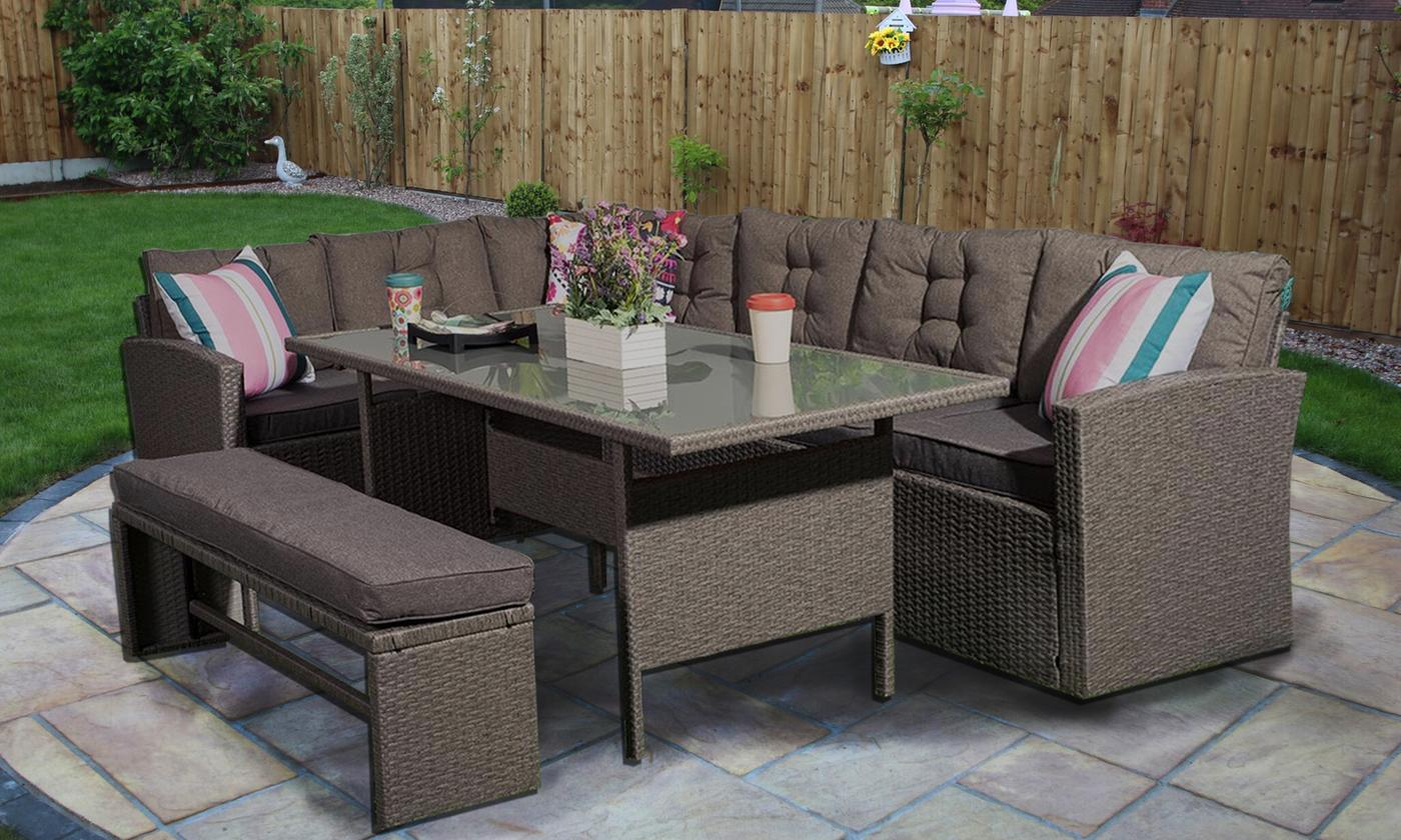 Yakoe Eight-Seater Rattan-Effect Garden Furniture Set with Optional Cover (£549.98)