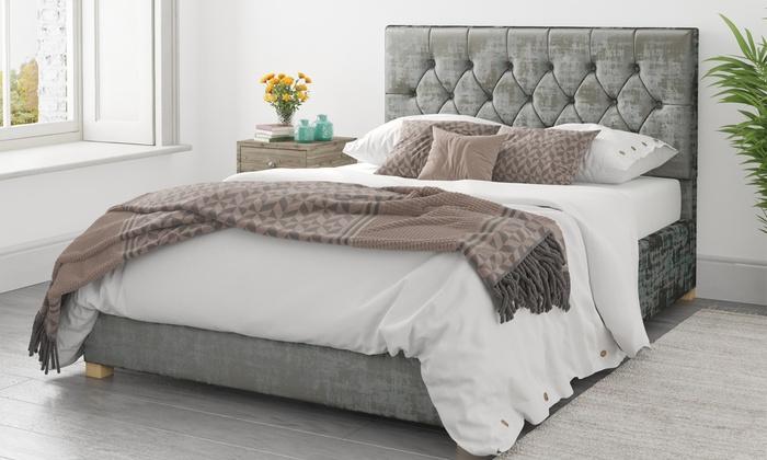 Diamond Distressed Velvet Ottoman Bed Frame with Optional Bonnell or Pocket Mattress