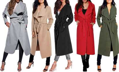 Shop Groupon Womens Long Waterfall Coat