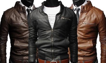 Blouson Sergio pour homme style motard en simili cuir