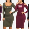 Women's Bodycon Graphic 3/4 or Long Sleeve Stretchy Midi Dress