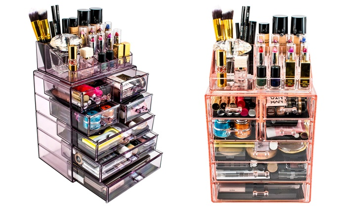 Attractive Sorbus Acrylic Cosmetic Makeup And Jewelry Storage Case Display ...