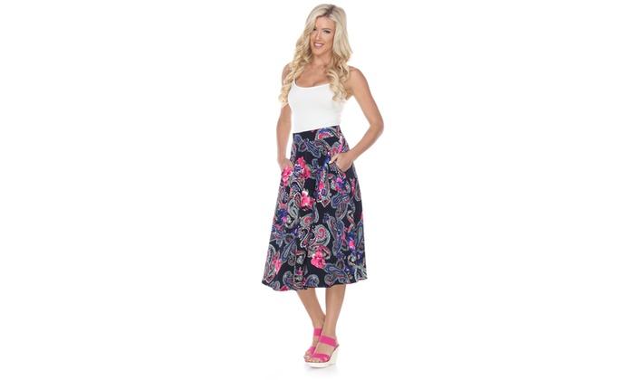 Women's Printed Paisley Midi Skirt