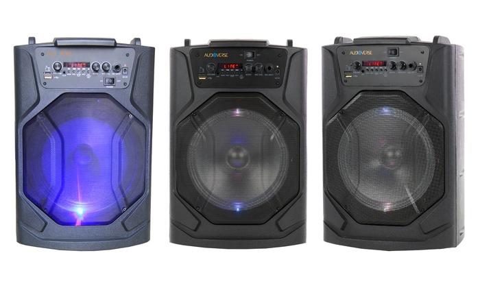 5fb3cdf2333 Audioverse AV-81 Portable Wireless Bluetooth PA Speaker   Groupon