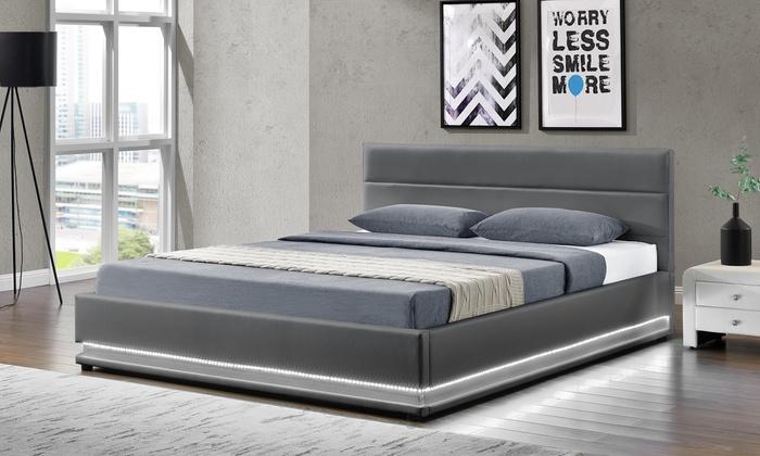 lit coffre clairage led groupon. Black Bedroom Furniture Sets. Home Design Ideas
