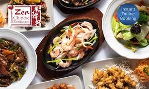 Zen Chinese Restaurant: Two-Course Chinese Dinner with Wine for Two ($35) or Four People ($65) at Zen Chinese Restaurant (Up to $140.80 Value)