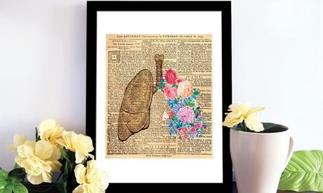 Vinilos de pared anatomía humana y flores