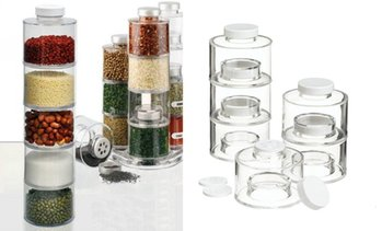Six Self-Stacking Spice Jars Set