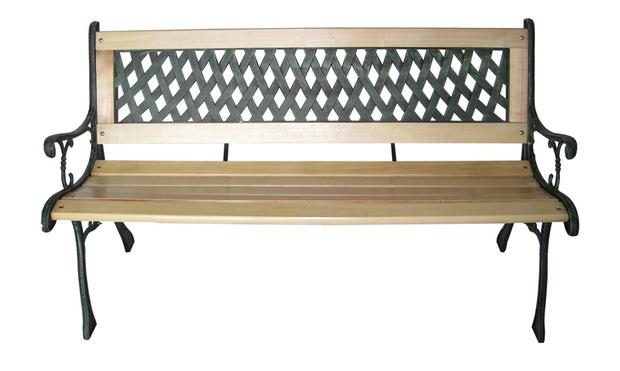 banc de jardin en bois et fonte groupon shopping. Black Bedroom Furniture Sets. Home Design Ideas