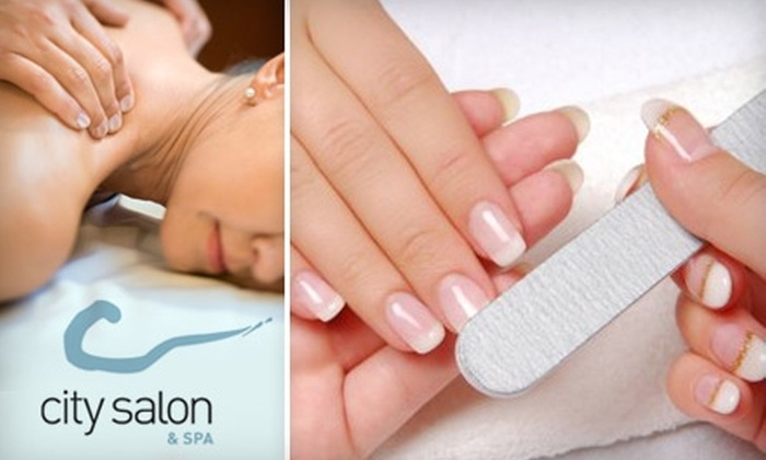 City Salon and Spa - Central City: $20 for a Mani-Pedi or Massage and Eyebrow/Upper Lip Wax at City Salon and Spa (Up to $50 Value)