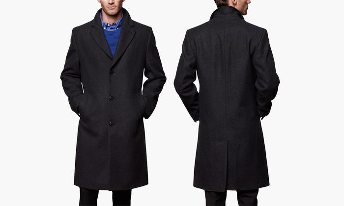 London Fog Mens Signature Wool Blend Top Coat
